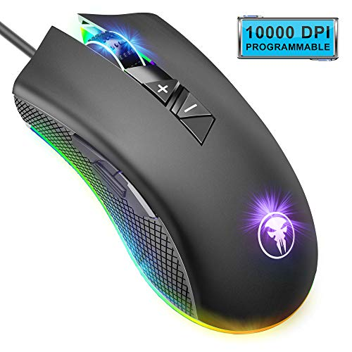 ANVASK Souris Gamer, Souris de Jeu MOBA/MMO RGB USB Filaire(8 Boutons Programmables, 10000 DPI Réglable, Souris Gaming...