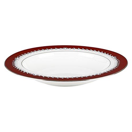 Lenox Marchesa Empire Pearl Pasta Rim Soup Bowl, Wine Lenox Pearl Platinum Bone China