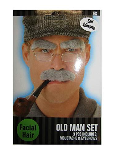 Islander Fashions Herren Phantasie Neuheit Schnurrbart Augenbrauen Set Hen Night Party Supplies Zubeh�r (Alter Mann Schnurrbart + Augenbrauen)