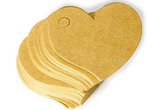 50 x Herzform Anhängeschild 4,6x4,2cm Herz Papier Braun Preisschild Namensschild Geschenk Hochzeit Einladung Kofferanhänger Heart Label Tag Anhänger zum bemalen und gestalten DIY