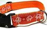 Hundehalsband orange mit - ELEFANTEN - Breite: 2,5 cm - Länge verstellbar von ca. 33 cm bis ca. 57 cm - Größe: L - mit Steckschließe und D-Ring - Hunde-Halsband - Geschenk Weihnachten Geburtstag