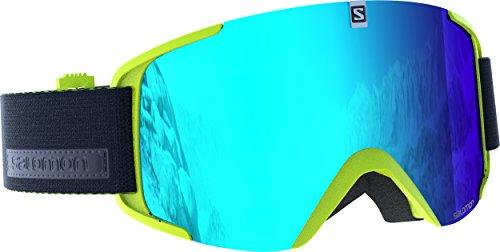 Salomon maschera da sci unisex, tempo soleggiato, visiera blu multistrato, sistema airflow, xview, verde chiaro, l39903300