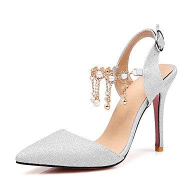 Sandales femmes chaussures printemps été Club D'Orsay & Deux-pièces Bleu Fête de mariage robe de soirée & HeelImitation Stiletto Pearl Silver
