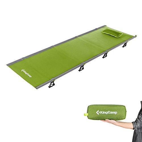 KingCamp Feldbett Ultraleicht Campingbett Aluminium Klappbett Indoor Outdoor bis 120 kg belastbar für Camping Wandern Reisen Klettern, 190 × 64 × 12 cm, Grün