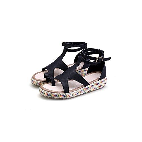 Scarpe di Moda Sandali alpargatas aperto di piattaforma caviglia donna Nero