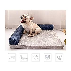 LXMBHDB Memory Foam Hundebett Hundebett,Sofa Abnehmbar Four Seasons Technischer Samt/Perlbaumwolle/Schwamm Kratzfester Biss Geeignet für große Haustiere-Blue-XL