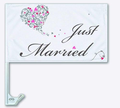 Autoflagge Autofahne Hochzeit Autodeko Fahne Just Married EinsSein® Dekoration Autobänder KFZ-Deko