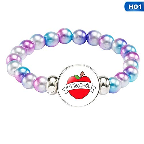 HMKLN Super Lehrer Armband Charme Multicolor Imitation Perle Armbänder & Armreifen Für Frauen Männer Schmuck Lehrertag Armband Geschenk (Lehrer-charme)