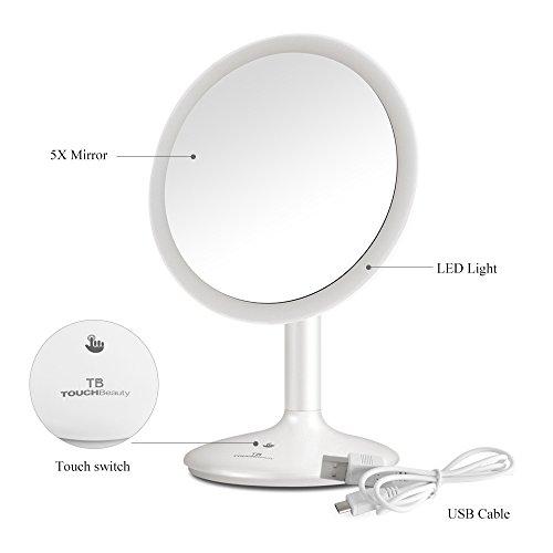 TOUCHBeauty Kosmetikspiegel mit LED Beleuchtung und 5-facher Vergrößerung. Beleuchteter Schminkspiegel mit rutschsicherem Standfuß,90° Schwenkbar,aufladbar per USB.AG-1676 -