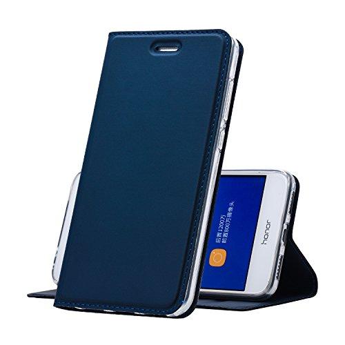Huawei P8 Lite (2017) Hülle Blau - MUKUTECH Handyhülle [Magnetverschluss] [Ultra Slim] Cover Schutzhülle mit Kartenfach, Ständer und TPU Innenschale, Bookstyle Case für Huawei P8 Lite (2017) (Mikrofaser-hybrid-jacke)