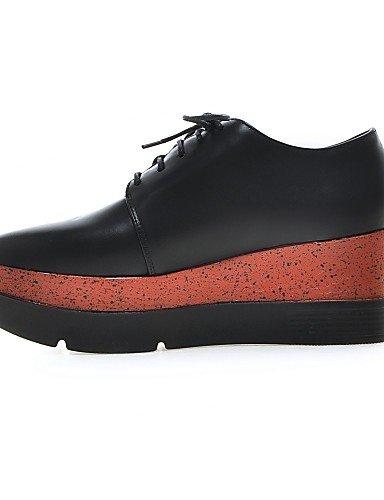 ZQ Scarpe Donna - Sneakers alla moda - Ufficio e lavoro / Casual - Plateau - Zeppa - Finta pelle - Nero / Grigio , gray-us5 / eu35 / uk3 / cn34 , gray-us5 / eu35 / uk3 / cn34 black-us6 / eu36 / uk4 / cn36