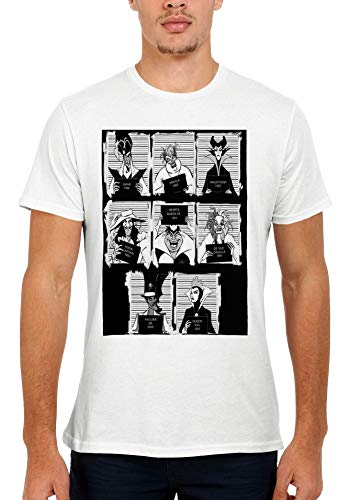 Disney Villains Mugshot Novelty Men Women Unisex Top T Shirt-M