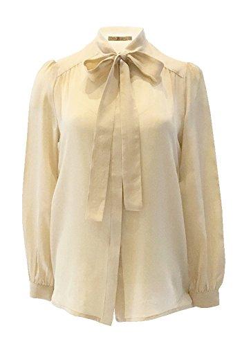 ANA PIRES MILANO Camicia Kasia, 100% Seta, Tinta Unita, Fiocco al Collo, Best Seller Crema