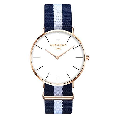XLORDX Damen Unisex Armbanduhr elegant Quarzuhr Uhr modisch Zeitloses Design klassisch Gold Nylon Blau Weiß