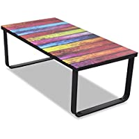 vidaXL Bedside Table Glass for Coffee with Rainbow Printed