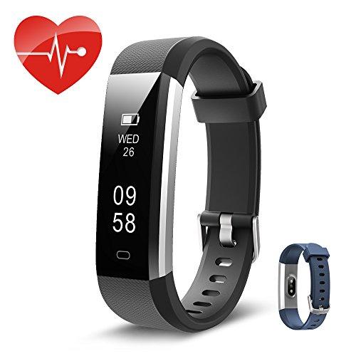 Fitnessarmband, Fitnesstracker, Kingsky-Pulsfrequenzmesser mit Schrittzähler, Schlafüberwachung, Aktivitätstracker mit GPS, Smart-Armbandschrittzähler mit Alarm, Kalorienzähler und Kamera für Android und iOS (Schwarz)