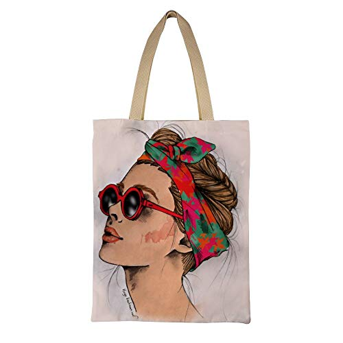 DKISEE Woman Wearing Sunglasses Reusable Canvas Tote Handbag Eco-Friendly Printed Tote Bag Large Casual Shoulder Bag Shopping Bag