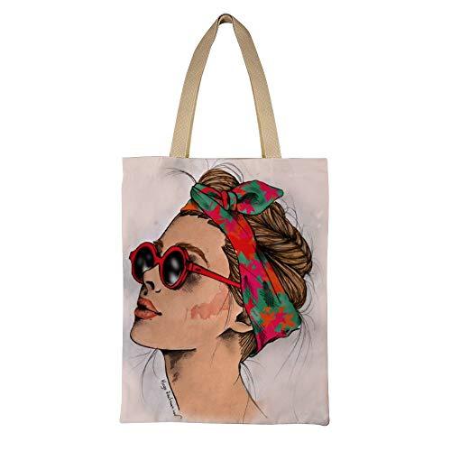 DKISEE Woman Wearing Sunglasses Reusable Canvas Tote Handbag Eco-Friendly Printed Tote Bag Large Casual Shoulder Bag Shopping Bag