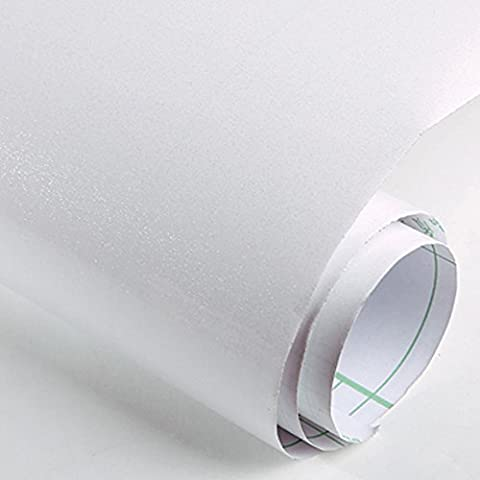 Gloss Self Adhesive PVC Stickers Back Sticky for Kitchen Cupboard Door Drawer Wardrobe Cover,5m x 61cm Waterproof Wall Sticker (White)