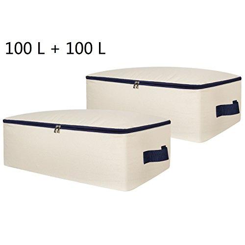 Lifewit Stoff Unterbettkommode, Unterbett Aufbewahrungstasche für Bettzeug/ Kleidung/ Matratze/ Decken/ Kissen, Ultra Groß, Faltbar (100L+100L)