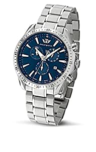 Philip Blaze Men's Quartz Watch with Blue Dial Chronograph Display and Silver Stainless Steel Strap R8273995235