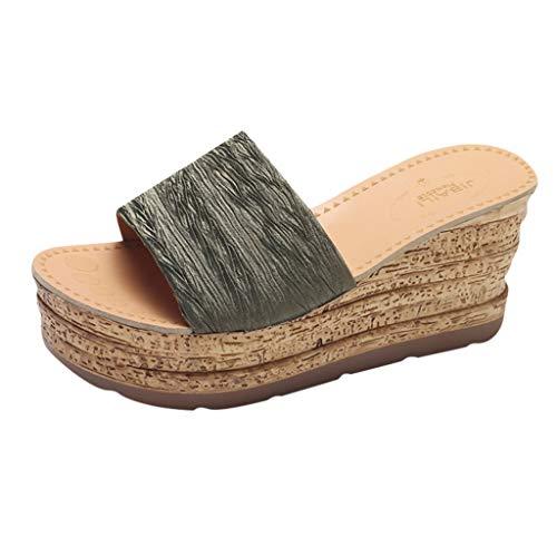 Damen Sandalen Keilabsatz Hausschuhe Sommerschuhe Plateau Wedge Schuhe Knöchel Schnalle Peep Toe Elegant High Heels Sandaletten Strandschuhe (EU:40, Grün) -