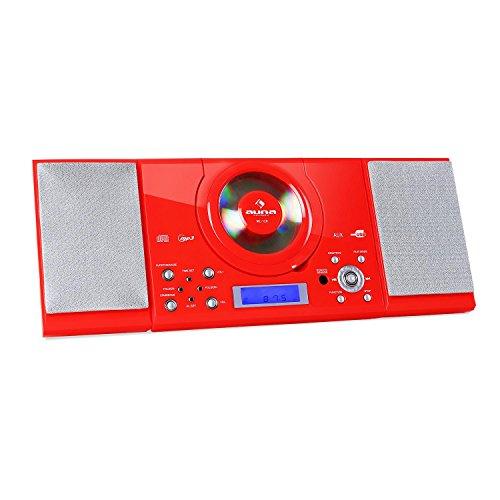 auna MC-120 Kompaktanlage • Stereoanlage • Microanlage • USB-Port • AUX • UKW Radiotuner • automatische / manuelle Sendersuche • Dual-Alarm • LCD-Display • Stand- und Wandmontage • Fernbedienung • rot Dual-port-wand