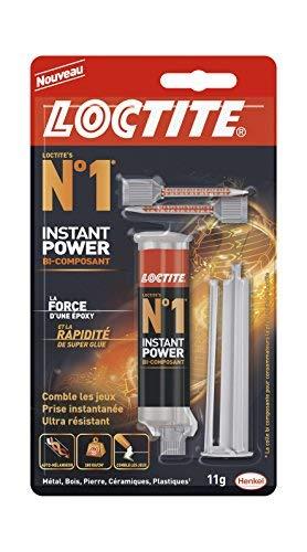 Loctite N°1 Instant Power, colle époxy pour la plupart des matériaux, colle rapide multi-usages, colle transparente et très résistante, seringue de 11g