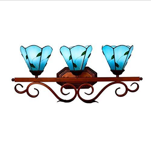 Moderne LED Vanity Light Tiffany Stil Wandleuchte Blue Leaves Glass Mirror Front Lampe für Galerie Passage Flur Treppe Balkon Garderobe - Blue Galerie