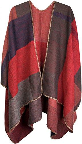 styleBREAKER Poncho mit Rechteck Muster, Umhang, Überwurf Cape, Wendeponcho, Patchwork Design, Damen 08010008, Farbe:Rot-Orange-Grau