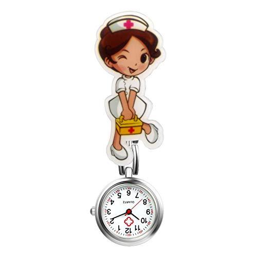 LANCARDO Reloj Médico de Bolsillo Colgante Enfermera Prendedor Broche Movimiento Cuarzo Multicolor con Clip Uniforme Paramédico Regalo Gracias Doctor Mujer Chica Niña