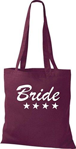 Shirtstown Stoffbeutel JGA Bride Braut viele Farben weinrot