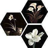 SAF Set of 3 Hexagon Flower UV Textured MDF Home Decorative Gift Item Painting 17 Inch X 17 Inch SANFHX131