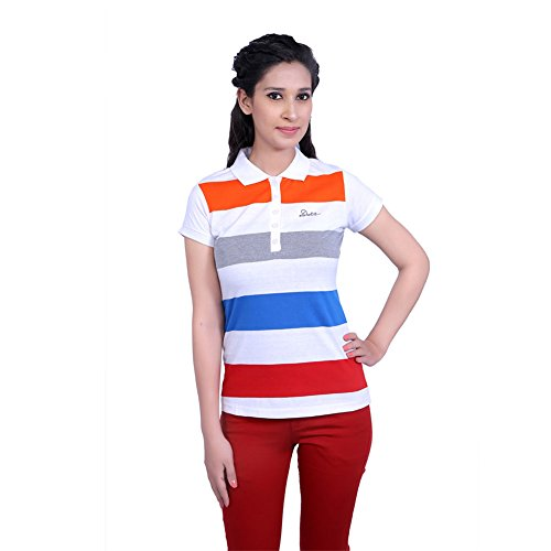Duke Stardust White Polo Neck Button Down Half Sleeves Cotton Blend Womens T-shirt And Top