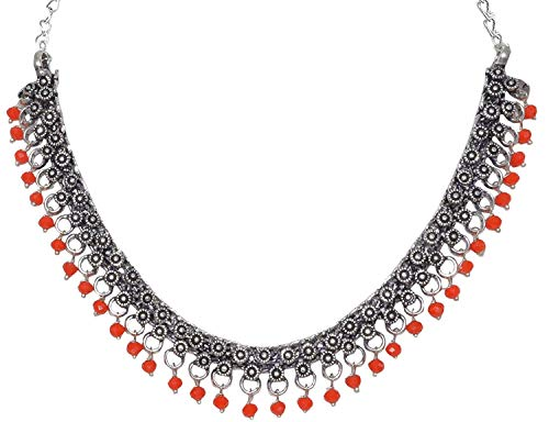 Indian Handicrafts Export Sansar India Oxidized Silver Plated Beaded Choker Necklace for Girls and Women