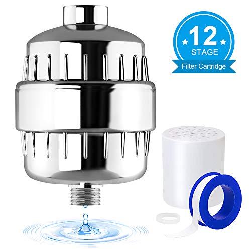 Universal Duschfilter, Goodsmiley 12 Stufen Wasserfilter weicher mit Teflonband Arbeiten mit Duschkopf fürc Entfernung Chlor Schwermetalle Fluorid Schwefelgeruch und schädlichen Verunreinigungen