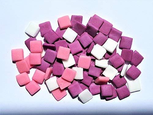 Quadratische Mosaik-fliese Top (Cake Accessories 100 Essbar Rosa und Lila Mischung Minecraft Quadrate Fliesen Pixel Tortenaufsätze Verzierung)
