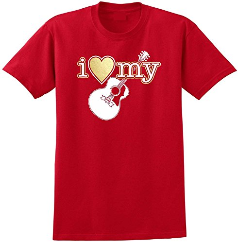 Acoustic Guitar I Love My - Red Rot T Shirt Größe 87cm 36in Small MusicaliTee (Martin T-shirt Guitar)