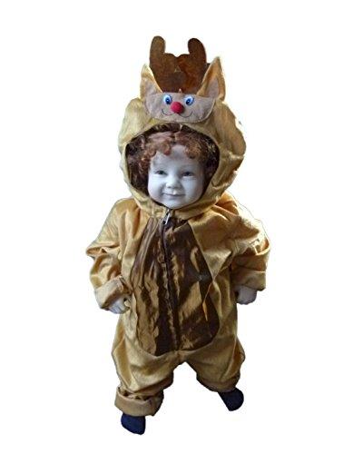 Rentier-Kostüm, An62 Gr. 80-86, Hirsch-Kostüm Elch-Kostüm für Klein-Kinder, Hirsch-Kostüme Babies, Kinder-Kostüme Fasching Karneval, Kinder-Karnevalskostüme, Faschingskostüme, Geburtstags-Geschenk