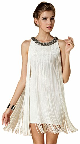 Babeyond Damen Flapper Kleid mit langem Troddel The Great Gatsby Mottoparty Frauen Mini Kleid (Größe S/ UK8-10/ EU36-38, (Gatsby Party Kleid)
