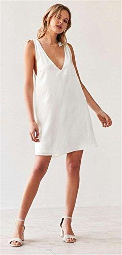 Sexy Sans Manche Encolure Profonde Col En V V Dans Le Dos Shoulder à Nouer Nouée Mini Courte Shift Boxy Straight Ligne Droite Dress Robe Blanc Blanc