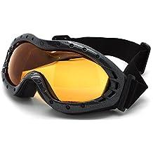 Invierno Nieve Gafas de esquí deportes al aire libre 100% protección UV anti niebla lente Snowboard para niños y niñas–para niños–negro