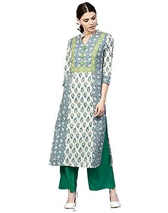 Jaipur Kurti Women's Cotton Straight Kurta (JKPLZ3127-M_ Blue_ Medium)