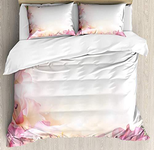 Pink und Weiß 3-teiliges Bettwäscheset Bettbezug-Set, Orchideenblüten Eckverzierung auf einem verträumten Hintergrund Floral Fantasy, 3-tlg. Tröster / Qulit-Bezug-Set mit 2 Kissenbezügen, Pfirsichrosa -