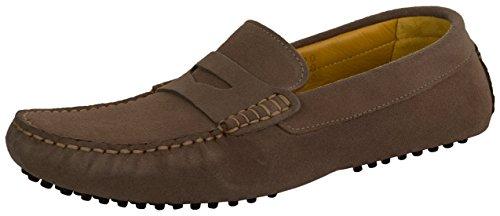 Beppi Leder-Mokassins | Leichte und Bequeme Schuhe Aus Echtleder IM Retro-Look | Genoppte Sohle Dunkelbraun