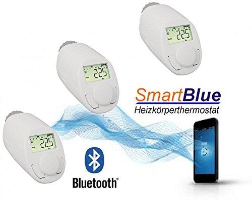 Smart Ventil (SmartBlue Heizköperthermostat Bluetooth 3-er Set, Programmierung über Smartphone oder Tablet)