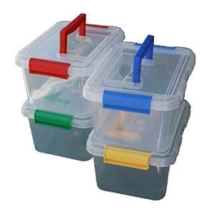1 x aus plastik 3 5 liter kunststoff aufbewahrungsbox container mit clip auf deckel und griff. Black Bedroom Furniture Sets. Home Design Ideas