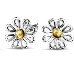 Aikesi Pendientes de las mujeres Lindo margarita patrón de aleación pendientes Ear Stud Silver 1 par