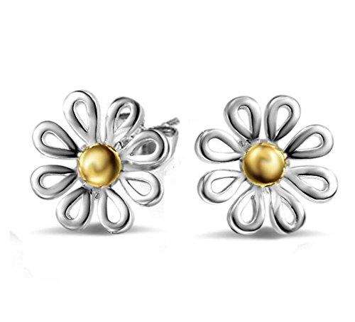 Westeng Women's Flower Daisy Sterling Silver Ear Stud Earrings 1 Pair (A)