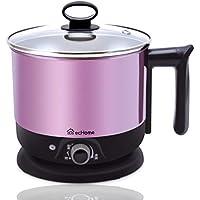 ecHome 1.2L Mini Portable Electric Travel Cooking Kettle Pot Cooker for Soup Porridge Steamed Food Rice Maker Pink